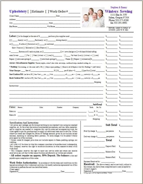 work order template for quickbooks work orders in quickbooks upholstery resource