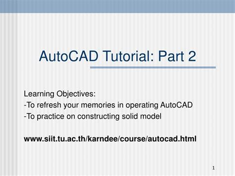 tutorial autocad ppt ppt autocad tutorial part 2 powerpoint presentation