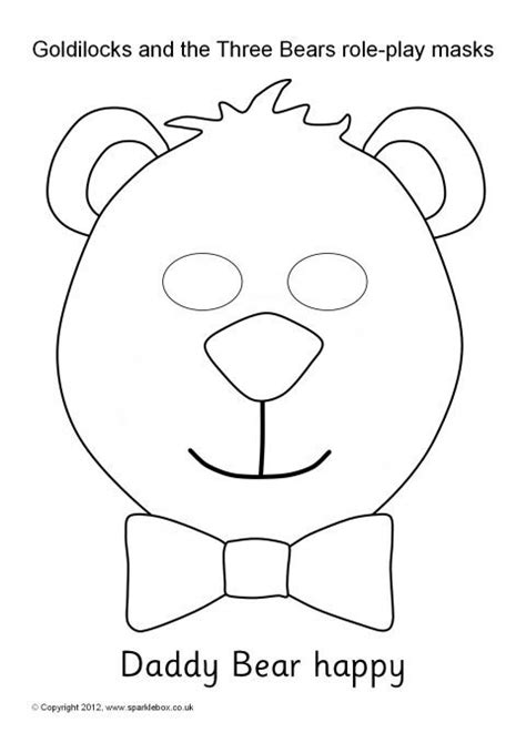 printable masks for goldilocks and the three bears goldilocks and the three bears role play masks black and