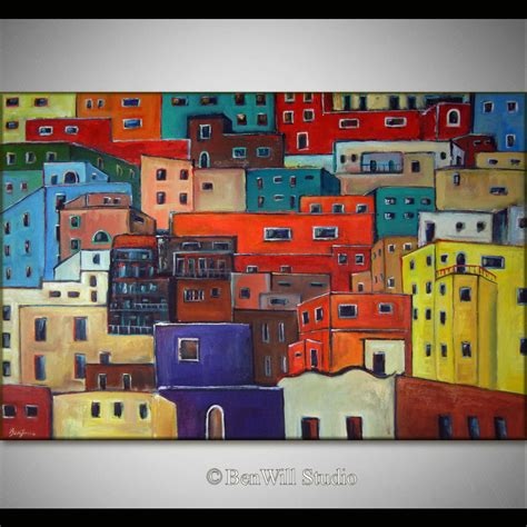 colorful houses painting 60 huge abstract painting colorful art original modern
