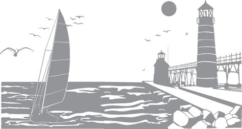 sailboat  pier  lighthouse pre cut patterns