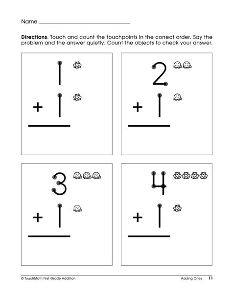 Touch Math Worksheets by Single Digit Touch Math Addition Worksheets Touchmath