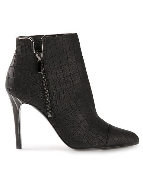 lanvin crocodile effect ankle boots in black lyst