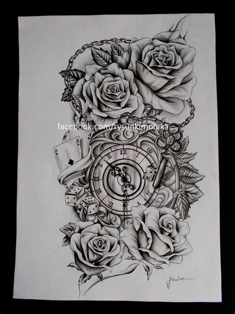 clock and rose tattoos best 25 clock and ideas on clock