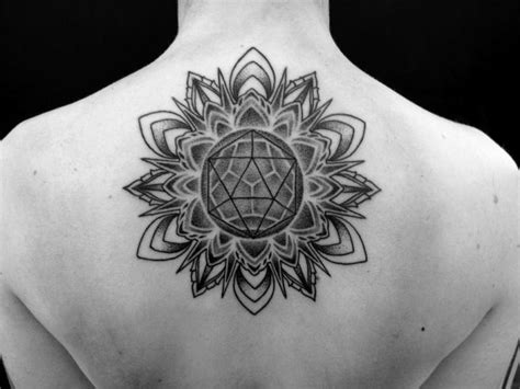 back dotwork geometric tattoo by corey divine