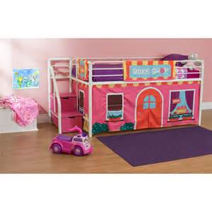 girls twin bed with storage girls bakeshop twin loft bed with storage steps pink