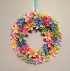 Origami Paper Wreath - bloom origami kusudama paper flower wreath 12