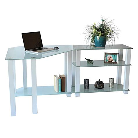 Glass Computer Corner Desk Rta Frosted Glass Corner Computer Desk With Right Side Extension Table White Ct 01302w
