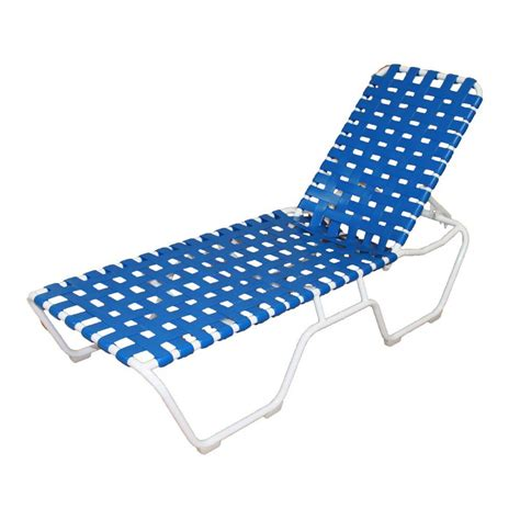 Blue Chaise Lounge Marco Island White Commercial Grade Aluminum Sling Outdoor Chaise Lounge In Dupione Poolside