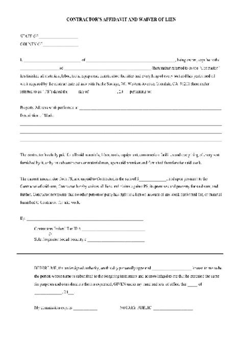 lien waiver form template lien waiver pdf form free other