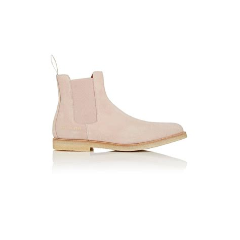 light pink suede boots common projects suede chelsea boots in pink lyst