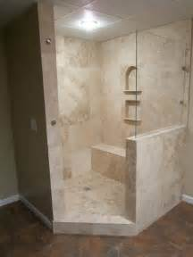 walk in shower out of travertine renovations