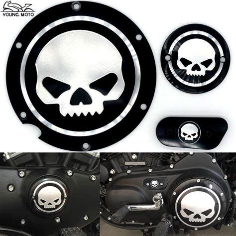 Derby Timer Cover Nightster Skull black motorcycle skull timing cover timing accessories