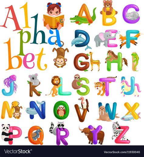 animal alphabet u education animal alphabet animal animals alphabet set for abc education in vector image