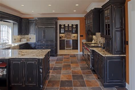 Distressed Black Kitchen Cabinets Kitchen Rustic With Black Kitchen Cabinets