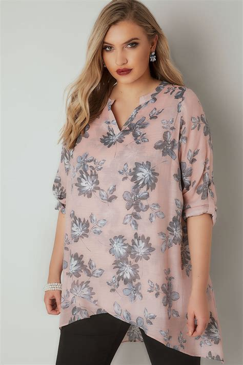 Layered Kimono Blouse In Blue pink grey floral print layered blouse with notch neck