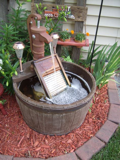 small solar lights outdoor barrel water fountain added old glass washboard with a