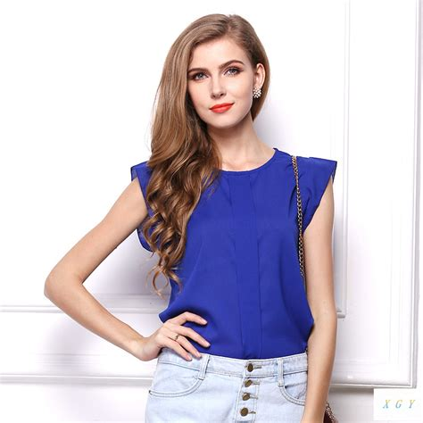 Blouse Gradasi Blouse Wanita Pakaian Wanita blouse wanita chiffon size s blue
