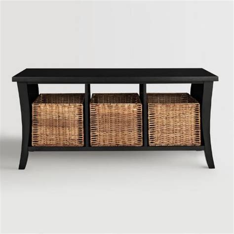 black bench with baskets black wood cassia entryway storage bench with baskets