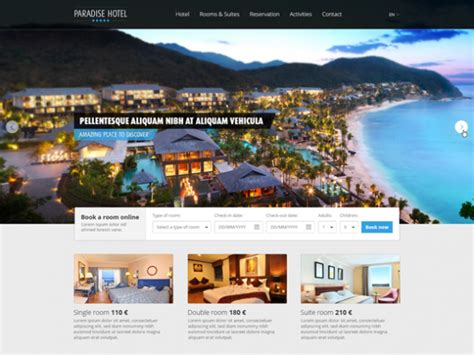 Paradise Hotel Psd Website Template Freebiesbug Resort Website Template