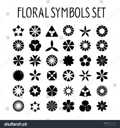 decorative symbols flower symbols set decorative floral icons stock vector