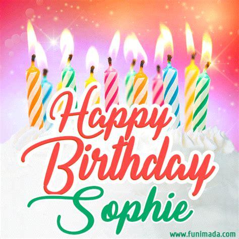 happy birthday gif  sophie  birthday cake  lit candles   funimadacom