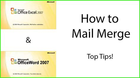 How To Use Mail Merge - mail merge in excel 2007 step by step mail merge master