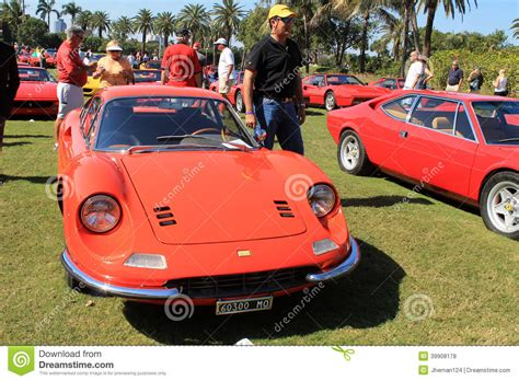 red orange cars classic 1960s orange dino 246 gt editorial stock photo