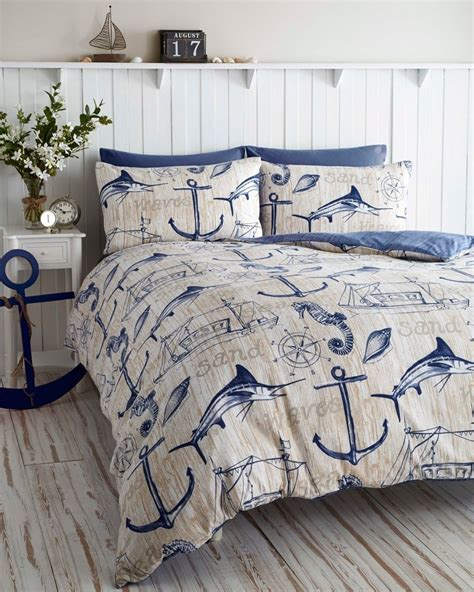 nautical bedroom sets wharf boat ship waves nautical anchor super king duvet