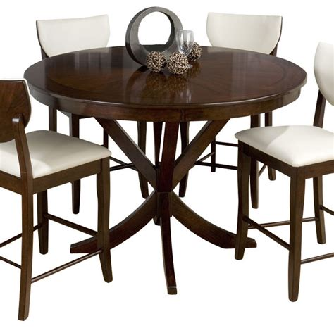 Houzz Dining Tables Jofran 433 54 Satin Walnut Pedestal Counter Height Table Traditional Dining Tables