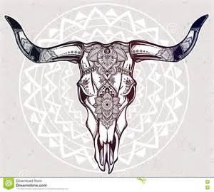 hand drawn romantic style ornate cow skull stock vector