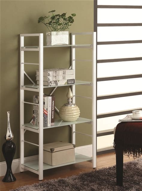 white 4 shelf bookcase white 4 shelf linear metal bookcase by coaster 800138