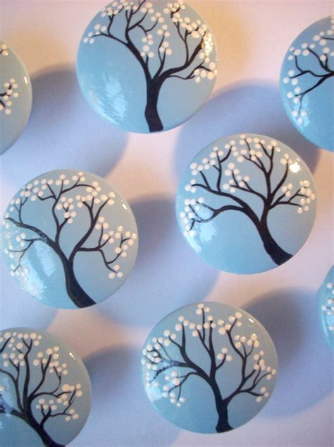Pretty Drawer Knobs Pretty Snow Covered Tree Branch Painted Cabinet