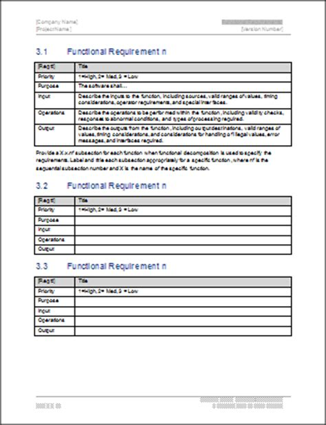 functional requirements template business analyst