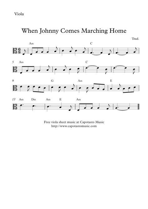 free printable sheet music viola free easy viola sheet music when johnny comes marching home