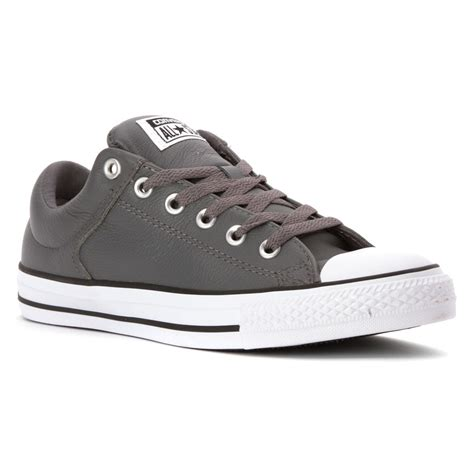 Converse Leather Grey converse chuck all hi ox leather in