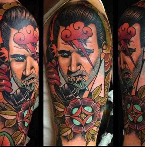 tattoo arm man old school this colorful sleeve tattoo of the portrait of a man