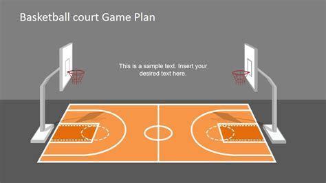 Basketball Court Game Plan PowerPoint Shapes   SlideModel