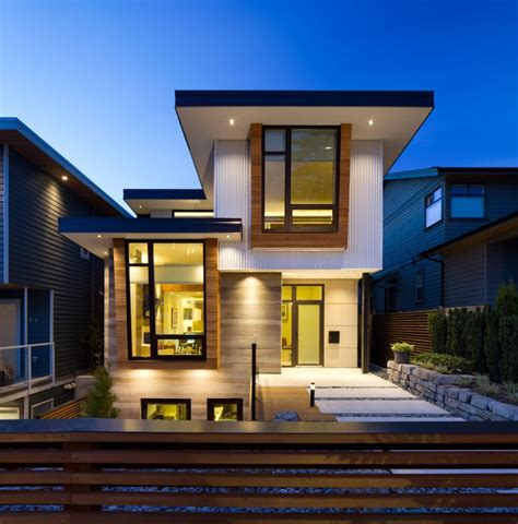 fachada de casa moderna de dos pisos y dise 241 o de interiores