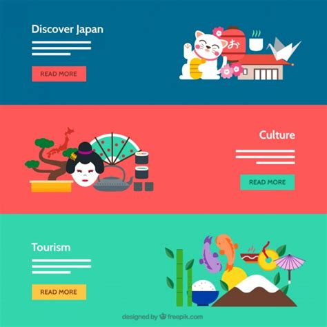 banner design japan japanese culture banners vector free download