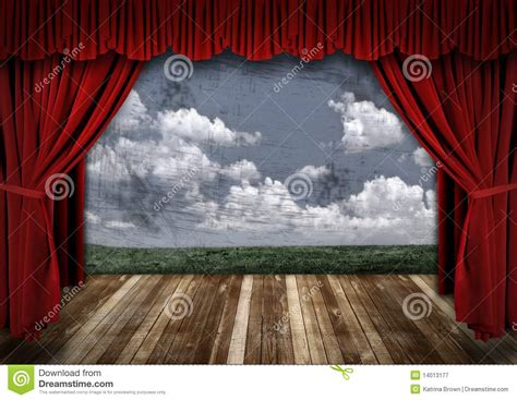 dramatic stage with red velvet theater curtains stock image image 14013177