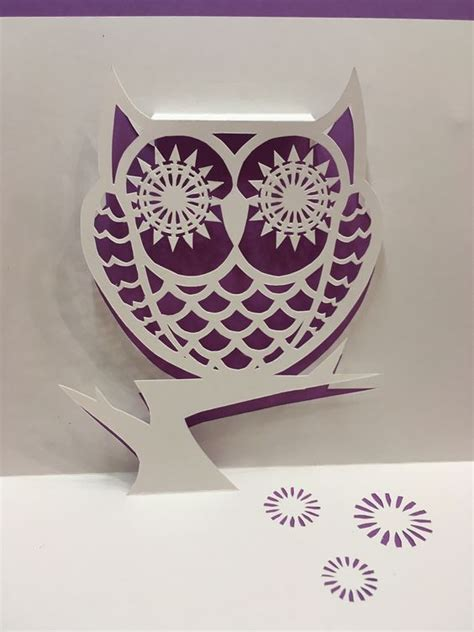 owl card template owl pop up card template from cahier de kirigami 18