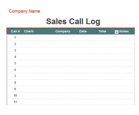 sales call template sales call log spreadsheet bing images