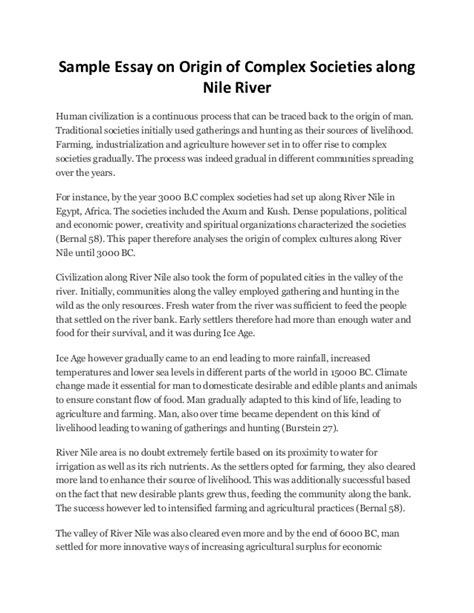 Civilization Essay by Sle Essay On Origin Of Complex Societies Along Nile River