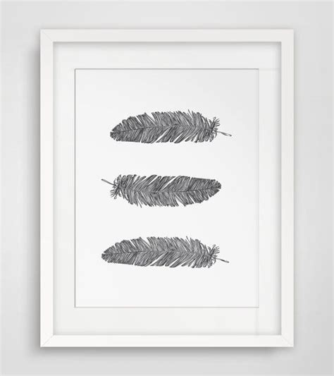 printable wall art black and white feather print three feathers feather art feather wall