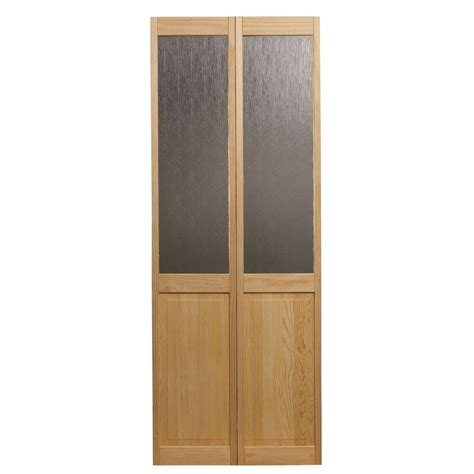 interior glass doors home depot pinecroft 32 in x 80 in glass raised panel pine interior bi fold door 874528 the