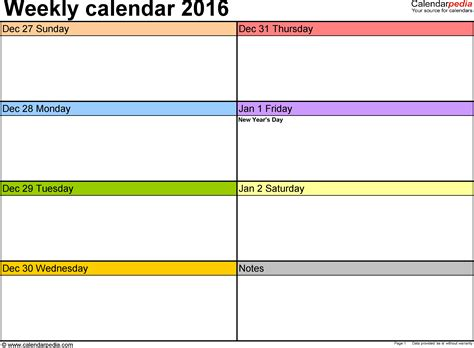 Calendar Printable Weekly 2016 Weekly Calendar 2016 For Excel 5 Free Printable Templates
