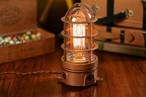 industrial light bulbs vintage industrial explosion proof cage edison bulb table l