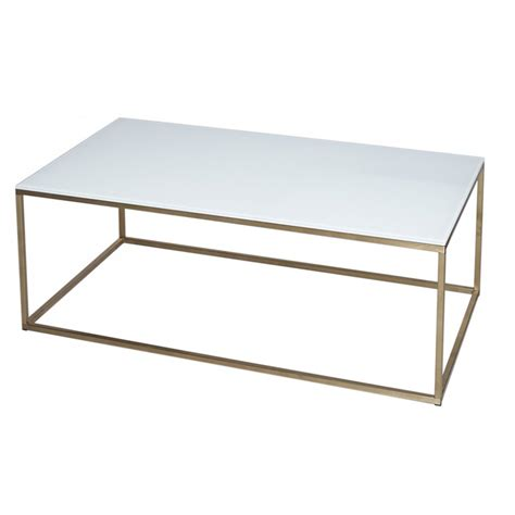 Metal Glass Coffee Tables Buy White Glass And Metal Rectangular Coffee Table From Fusion Living