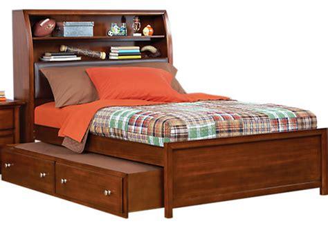 santa cruz cherry  pc full bookcase bed wtrundle